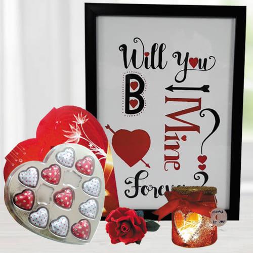 Marvelous Big Photo Frame with Led Lamp n Heart Chocolates