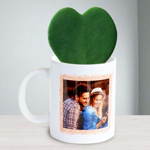 Lovely Hoya Heart Plant in Personalized Coffee Mug