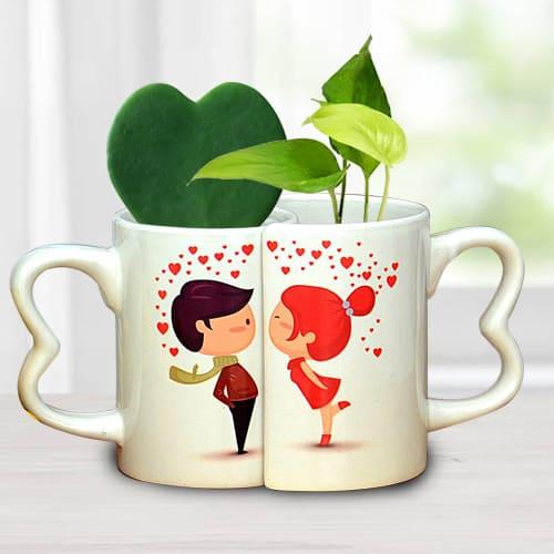Exclusive Couple Coffee Mug with Hoya Heart n Money Plant