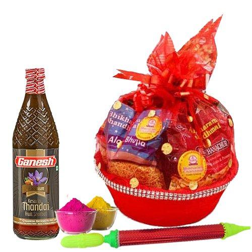 Marvelous Snacks n Thandai Gift Hamper for Holi