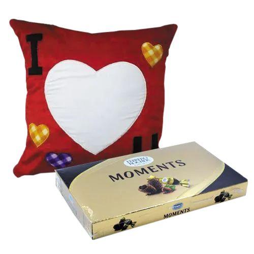 Ravishing Personalized ILU Velvety Cushion with Ferrero Rocher