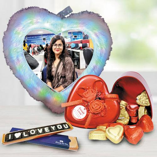 Mesmerizing Personalized LED Heart Fur Cushion n Chocolates Combo