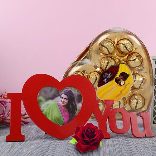 Mesmerizing Personalized HB ILU with Sapphire Chocolate N Red Velvet Rose