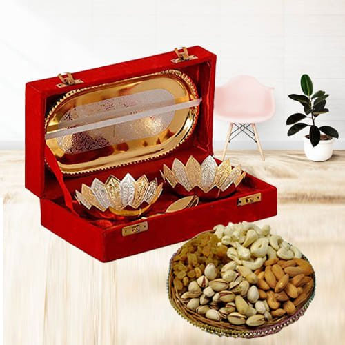 Classy Gift of Silver Bowl Set with Tasty Dry Fruits