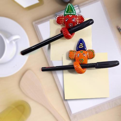 Handmade Multi-Purpose Ganesha Pen Holder Cum Fridge Magnet with 2 Ball Pens n Sticky Note for Mom