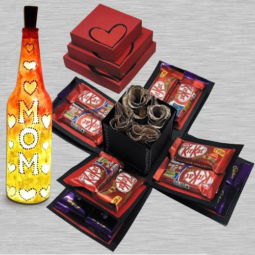 Chocolates n Rose Explosion Box with a Handcrafted LED Lighting Bottle Lamp for Mom