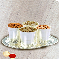 Crunchy mixed Dry Fruits with Silver  Glasses and Tray with free Roli Tilak and Chawal