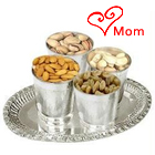 Delicious Dry Fruits of 200 gms. in Silver Plated Glasses and a 7 inch Tray