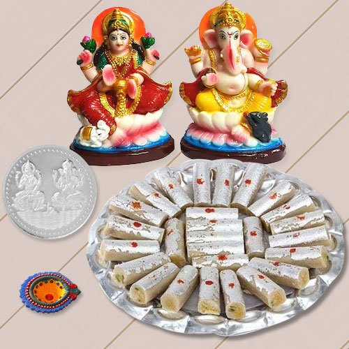 Ganesh Lakshmi with Kaju Pista Rolls from Haldiram