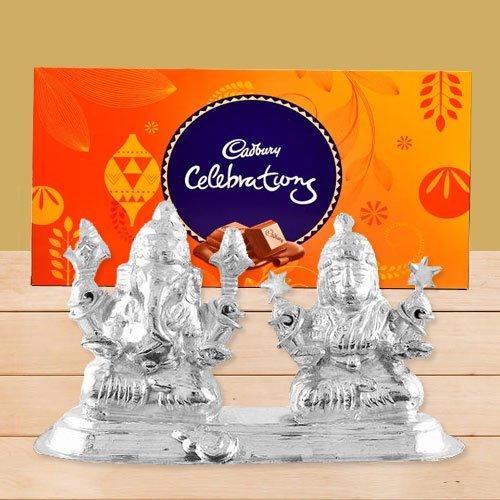 Silver Plated Ganesh Lakshmi with Cadbury's Celebration