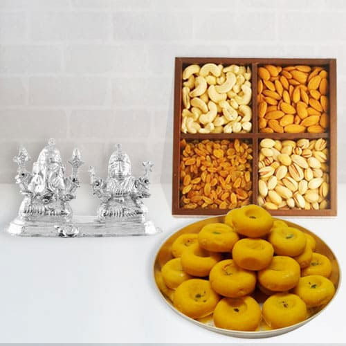 Classic Gift of Silver Plated Ganesh Lakshmi with Dry Fruits and Sweets