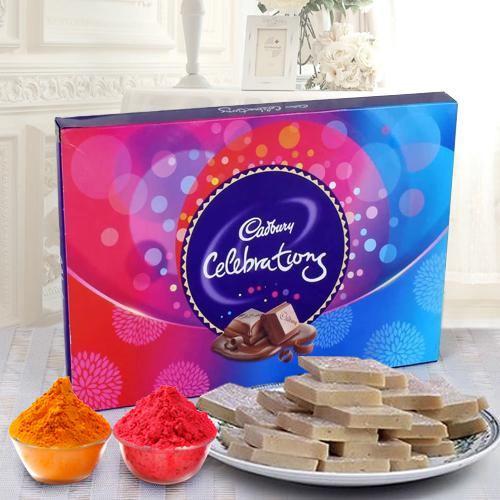 Haldirams Kaju Katli and a Box of Cadburys Celebrations