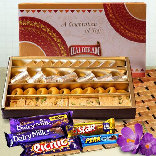 Classy Haldiram Sweets N Cadbury Chocolates Assortments for Mom
