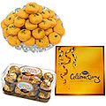 Send Haldirams Kesariya Peda with Ferrero Rocher and Cadburys Celebaration to Kerala