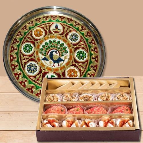 Striking Minakari Pooja Thali with Haldirams Sweets