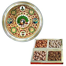 Buy Subh Labh Stainless Steel Thali with Assorted Dry Fruits