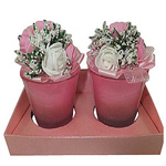 Ravishing Set of Floral Designed Christmas Candles