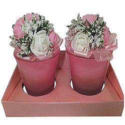 Ravishing Set of Floral Designed Christmas Candles
