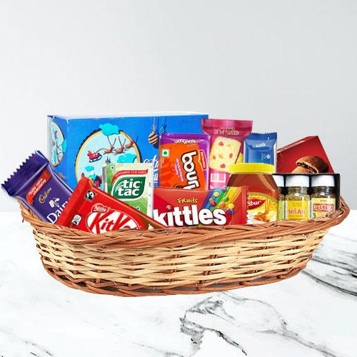Appealing Food Basket with Festive Spirit