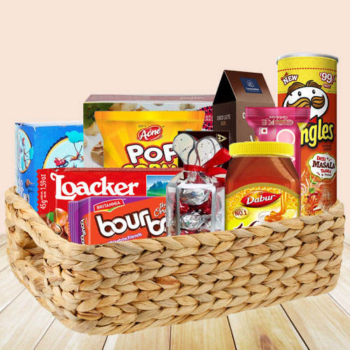 Elegant Food Basket Filled with Christmas Delicacies