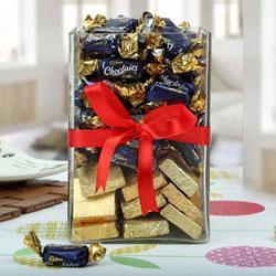 Scrumptious Cadbury Eclairs n Handmade Chocolate in a Glass Jar Pack