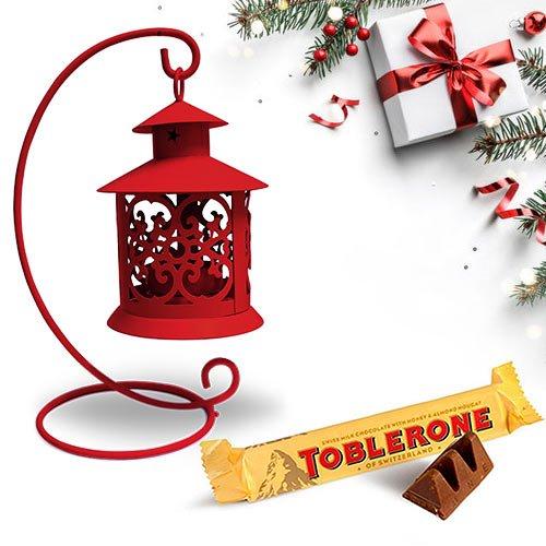 Ornamental Tea Light Decor N Toblerone Christmas Combo