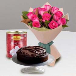 Energetic 12 Red Roses and Haldiram Rasgulla with 1 Kg Eggless Cake