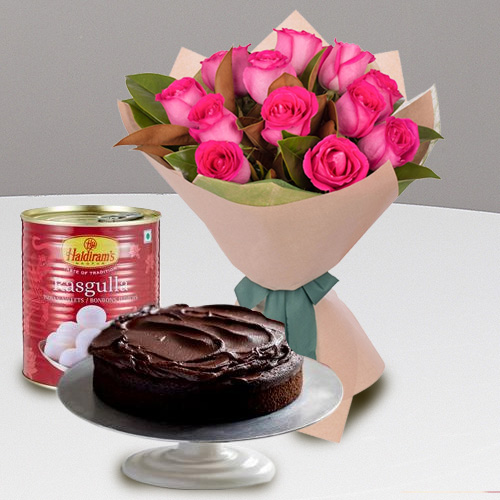 Shop Online Red Roses with Haldiram Rasgulla N Eggless Cake