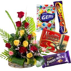 Sending Mixed Roses Arrangement with Assorted Cadbury Chocolates