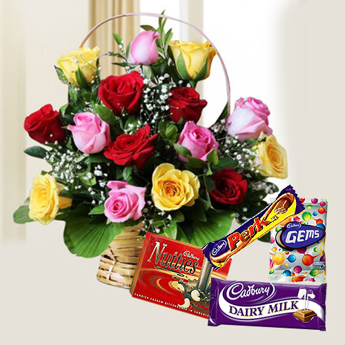 Assorted Roses N Cadbury Celebrations Combo