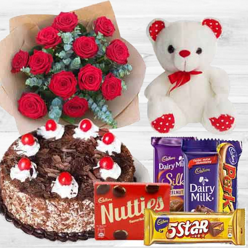 Online Gift Red Roses Bouquet with Cake, Assorted Cadbury N a Teddy