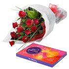 Cherished Combo of Roses and Chocolates