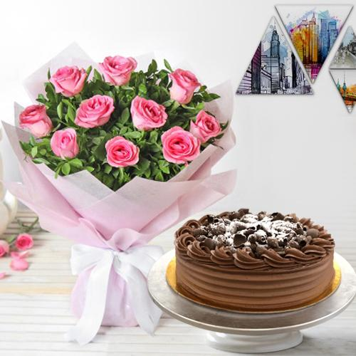 Send Online Pink Roses with Eggless Chocolate Cake