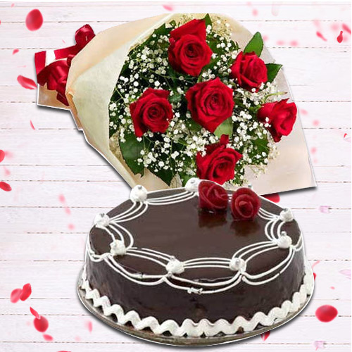 Buy Online Red Roses Bouquet with Chocolate Cake