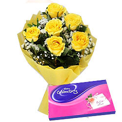 Yellow Roses Bouquet with Cadbury Celebrations Pack