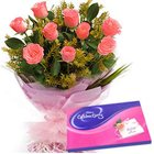 Comfy Pink Roses Hand Bunch with Cadbury Assortment
