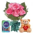 Fascinating Pink Rose Hand Bunch, Small Teddy and Mini Cadbury Celebration