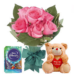 Teddy with Pink Roses N Chocolates