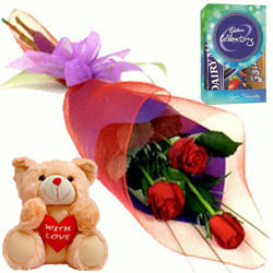 Chocos with Red Roses N Teddy
