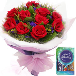 Red Rose Bouquet N Cadbury Mini Celebrations Pack