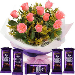 Pink Rose Bouquet N Cadbury Dairy Milk Chocolates