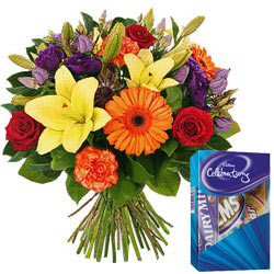 Mixed Florals Bunch with Cadbury Mini Celebrations Pack