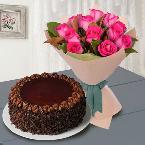 Shop Red Roses with Chocolate Cake Online