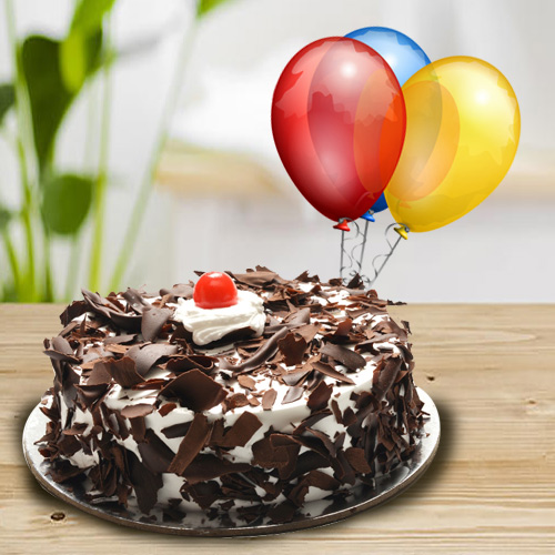 Online Deliver Black Forest Cake with Balloons