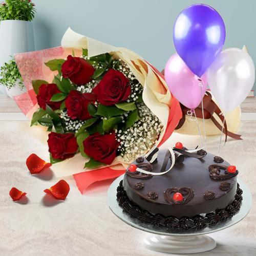 Deliver Online Truffle Cake with Red Roses Bunch N Balloons