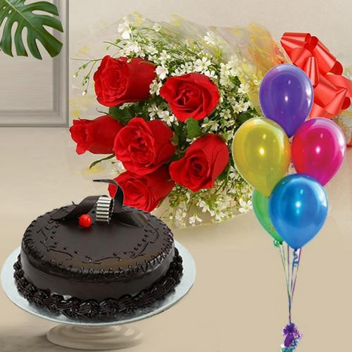 Send Chocolate Cake with Red Roses N Balloons Online