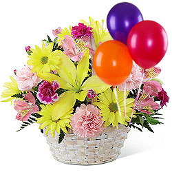 Elegant Basket of Mixed Flowers Arrangement with Balloons in Mixed Colors