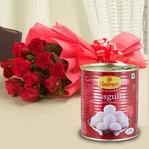 Send 1 Kg. Rasgulla with 12 Red Roses 
