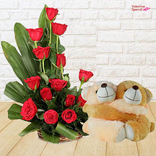 Deliver Online Red Roses Basket N Twin Teddy for V-Day