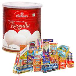 Superb Hamper of Haldiram Rasgulla and Crackers